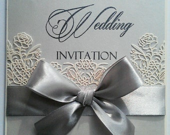 Silver Grey Large Bow Wedding Invitation with laser cut Roses