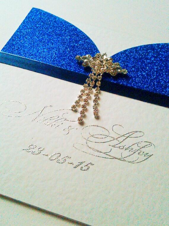 Royal Blue Glitter Pocket Wedding Invitation