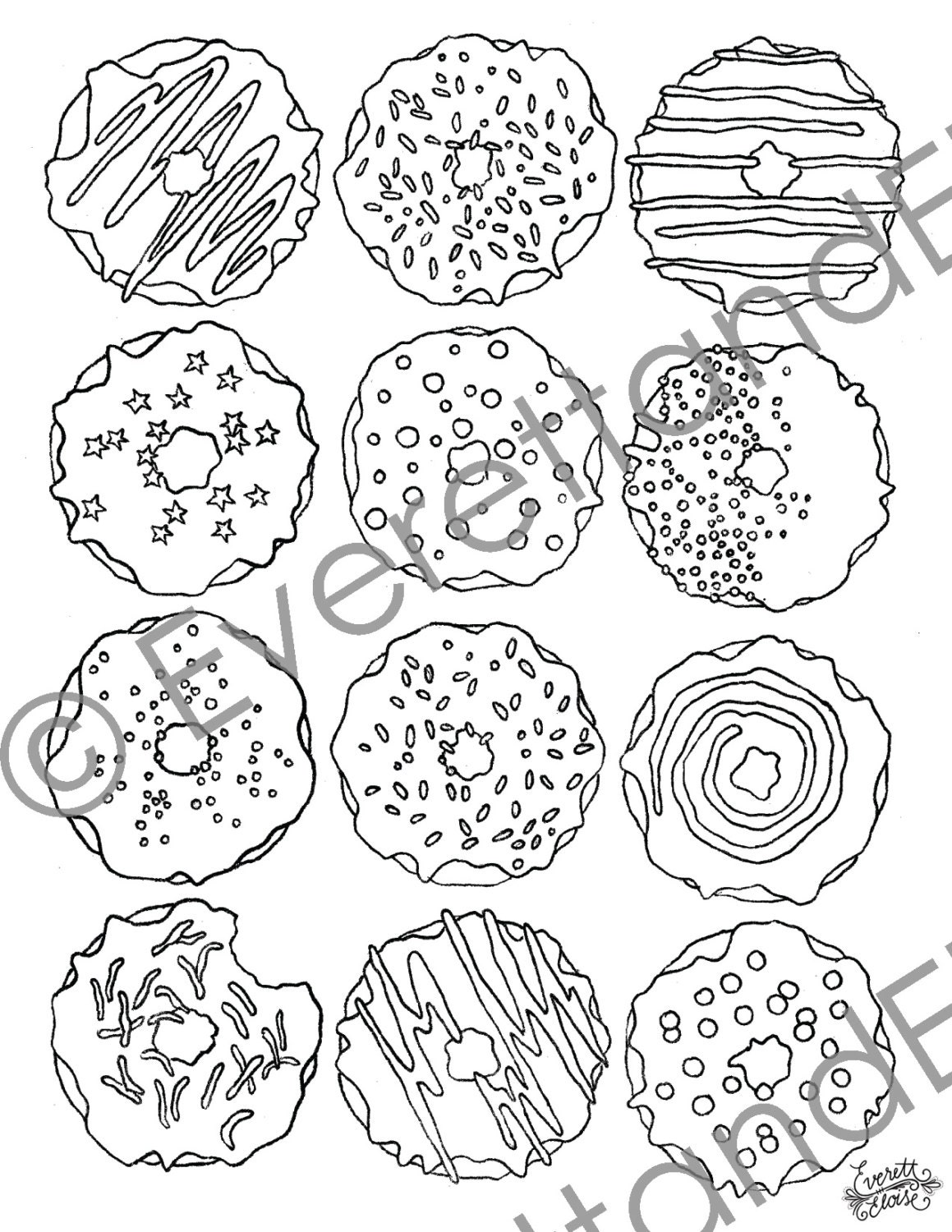 digital download donuts coloring page