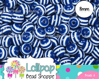 8mm DARK BLUE Striped Beads Round Gum Ball Beads Stripe Resin Beads 50-ct Plastic Stripes Bubblegum Beads Bubble Gum Beads Bottle Cap Beads