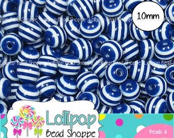 10mm DARK BLUE STRIPED Beads Striped Resin Beads Round Plastic Stripes Gumball Beads 50 Stripe Beads Bubble Gum Beads Bubblegum Beads