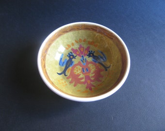 vintage hand painted ceramic bowl made in Greece by keramikos