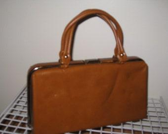 1960s Womens Cognac Jackie O Style Handbag/ Purse, New Never Used/Vintage Top Handle Purse/Handbag/Costume Handbags/Retro Purses