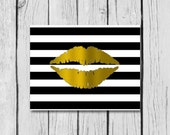 "Gold Foil Lips on Trendy Chevron, stripes or herringbone background/bathroom decor/home decor wall art/kids room decor/4x6""/5x7""/8x10"""
