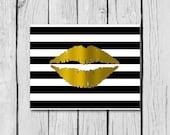 "Gold Foil Lips on Trendy Chevron, stripes or herringbone background/bathroom decor/home decor wall art/kids room decor/4x6""/5x7""/8x10"""