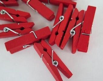 9PCS - Wood Clothespins - Scrapbooking, Accessories, Decor - Red - 35mm
