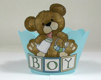 Bear Cupcake Wrappers, First Birthday Party Cupcake Holder, Baby Shower Decor, Second Birthday or Baby Boy Shower Bear Cupcake