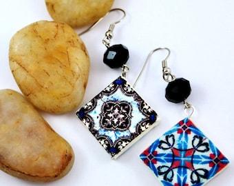 Reversible Earrings, with beautiful portuguese tiles replica.