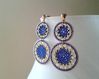Blue Beige Gold Earrings -Beaded Hoop Earrings - Dangle  Earrings- Gift for her