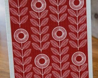 Red Sunflowers Swedish Dishcloth