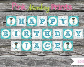 DIY - Boy Winter Pool Birthday Name Banner # 441- Coordinating Items Available