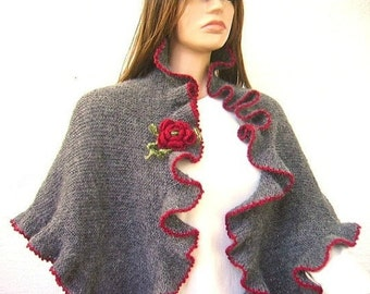 Dark Grey, Smoky Gray, Red Crochet Flower, Mohair Three Sides Ruffled Cute Shawl, Red Border, Handknit, Express Delivery