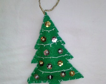 Hand Eco felt Christmas tree, with gold and silver sequins,