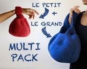Quatre PDF Tutoriels, versions française et anglaise: le Grand et le Petit Knotbag, laine feutrée. Faciles, bluffants originaux et ingénieux