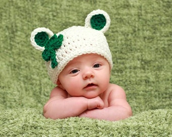 St Patty Shamrock leprechaun bear Hat with green shamrock Boy or Girl, SiZES Preemie Newborn 0-3month,3-6 month,6-12 month, 1-3 yr old