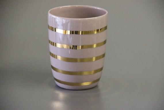 Gold Striped Mug Gold Ceramic Mug Gold Mug Without Handles