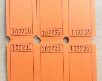 Blank Raffle Tickets - Orange