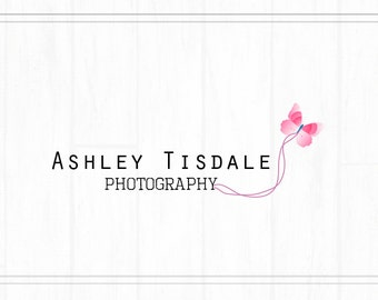 Hand Drawn Premade Photography Watermark, Logo with Butterfly, Simple Logo, Butterfly Logo, Logo Template, Pink Logo, Pre-Made Logo, L034