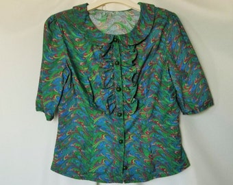 Vintage 1940s Style Handmade Blouse RUFFLES Bright Marbled Corlors Green Buttons Peter Pan Collar