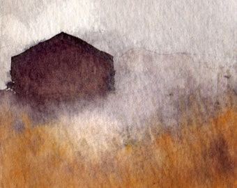 Autumn Field House - art print of original watercolor