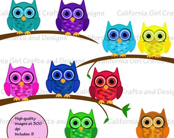 Colorful Owl Friends Clip Art Instant Download