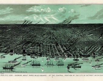 "Calvert Lithograph Company : ""Bird's Eye View...of Detroit, Michigan"" (c1889) - Giclee Fine Art Print"