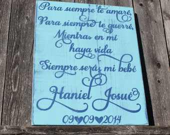 Spanish baby gift etsy spanish nursery sign para siempre te amar ill love you forever spanish negle Images