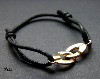 Bracelet black cord cuff gold plated
