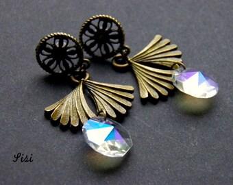 Pierced earrings bronze ginko leaf