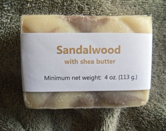 Sandalwood Scented Cold Process Soap with Shea Butter--50% OFF