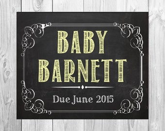 Vintage Customized Color We're Expecting Baby Chalkboard Printable Digital File- baby/ pregnancy announcement 8x10 or 11x17
