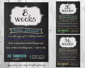 COLOR ALL 17 Printable Customized Files Pregnancy Chalkboard Weeks - from 1st, 2nd, 3rd Trimester 18x24 weekly pregnancy digital files week