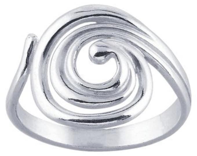 Modern Sterling Silver Swirl Ring ~ Free Shipping