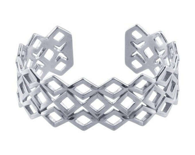 Modern Design Sterling Silver Geometric Diamond Pattern Cuff Bracelet