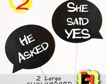 2 Chalkboards Speech Bubble on a Sticks  Photo Booth Props Chalk Board message Signs (Foamboard )
