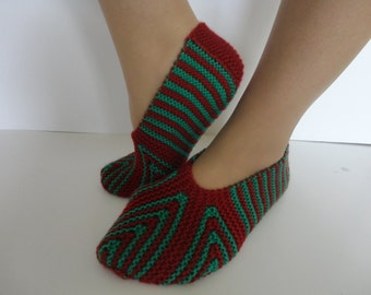 Women slippers,Christmas stile,Handknitt women socks,