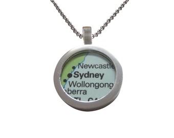Sydney Australia Map Pendant Necklace
