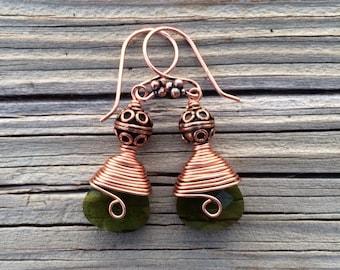 Cosmic Copper Wire And Green Swarovski Briolette Teardrop Earrings