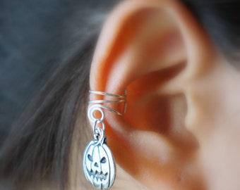 9)Silver Jack-O-Lantern Non Pierced Ear Cuff For Halloween
