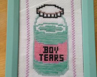 Boy Tears Cross Stitch