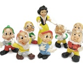 Snow White and 7 Dwarves Rubber Dolls. 1960s Ledra Plastics and Walt Disney Figurines. Rubber Squeak Toys.