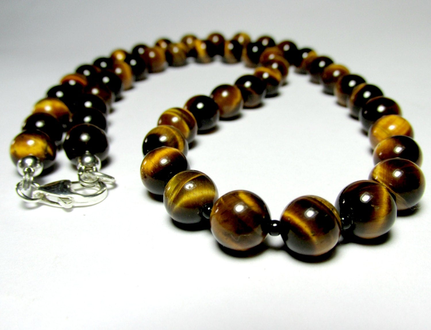 mens tiger eye necklace beaded necklace silver by