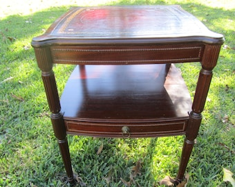 Vintage Side Table, Nightstand , Vintage Side Table, End Table, Furniture, Leather Top, Wheels