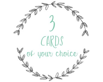 3 cards and/or postcards of your choice