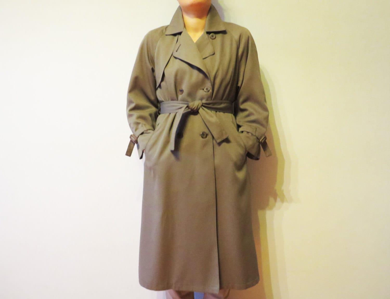 london fog gris kaki trench coat femmes double breasted. Black Bedroom Furniture Sets. Home Design Ideas