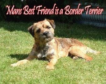 Mans Best Friend is a Border Terrier Fridge Magnet 7cm by 4.5cm
