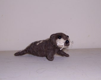 needle felted wool Seal Cub