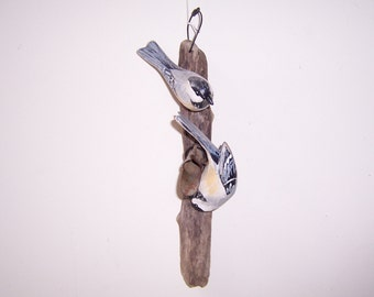 Folk Art hand carved and painted Chickadees on sap tap
