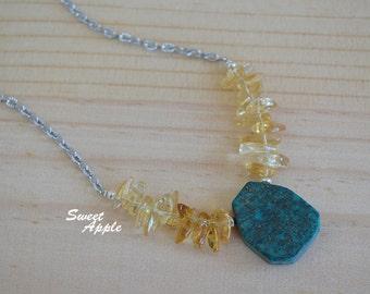 Citrine Chips with Phoenix Lapis Necklace
