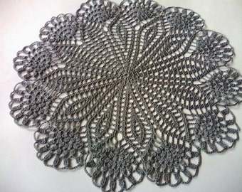 handmade crochet doily, flower doily, gray doily, 12 inches